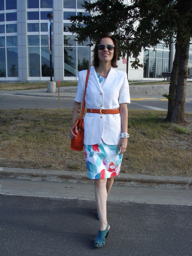 over 50 years old fashion blogger featuring a business Casual work look