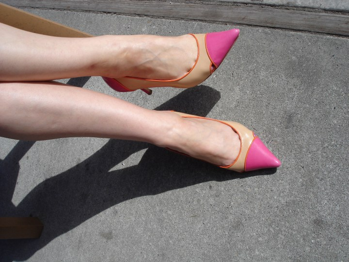 pink orange and nude pointy toe pumps