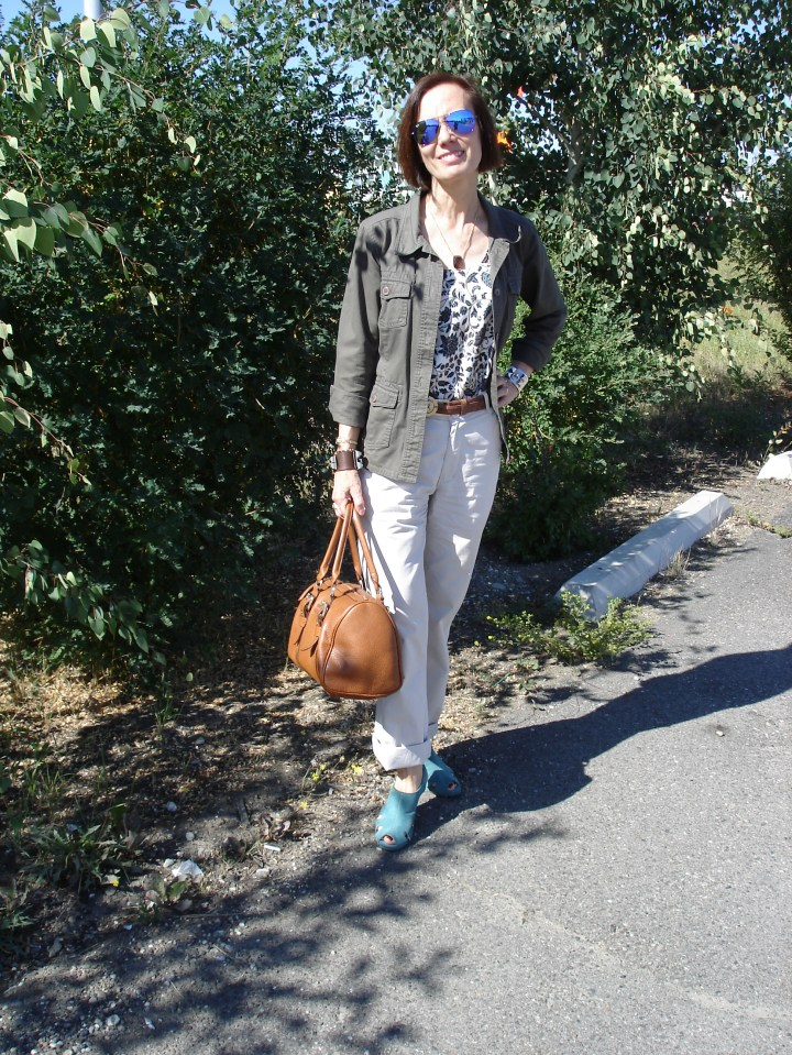 #agelessStyle mature woman in casual outfit with utility frock