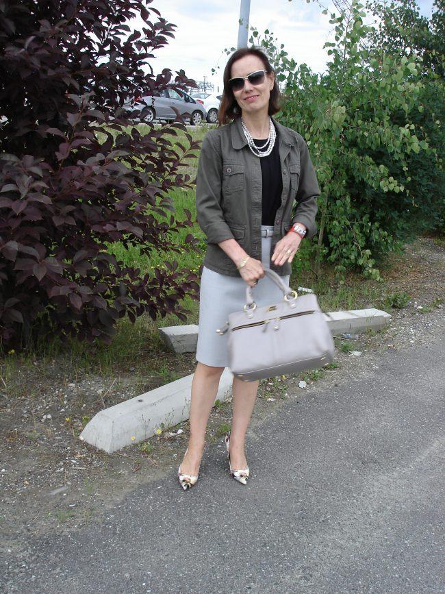 pencil skirt and safari jacket