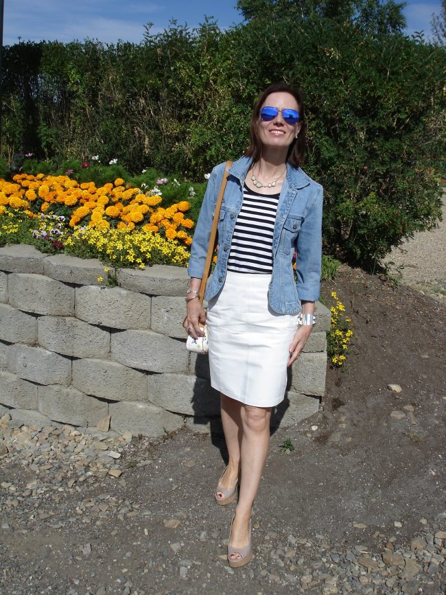 fashion blogger in denima jacket, leather skirt,striped Tee
