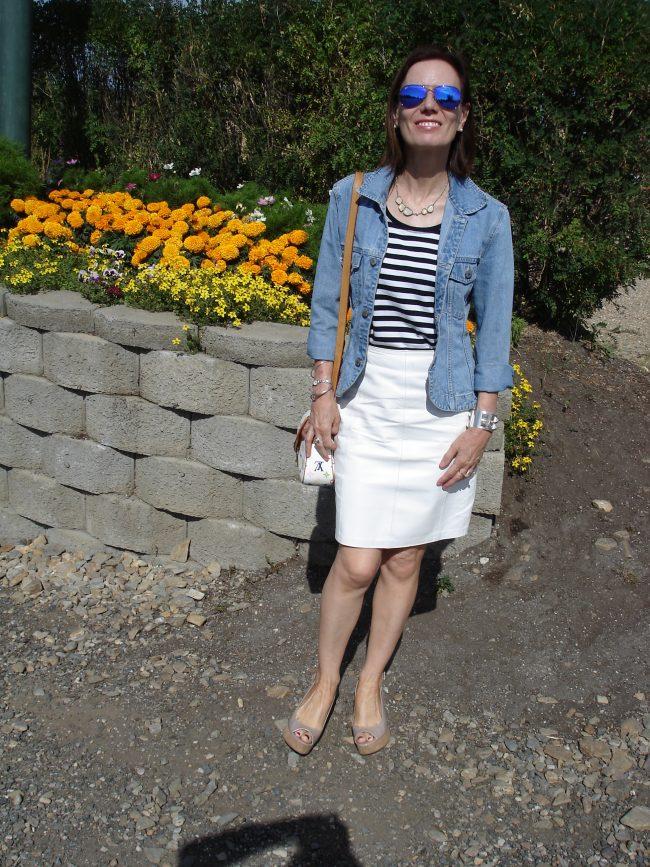 stylist illustrating how to wear denim like a pro