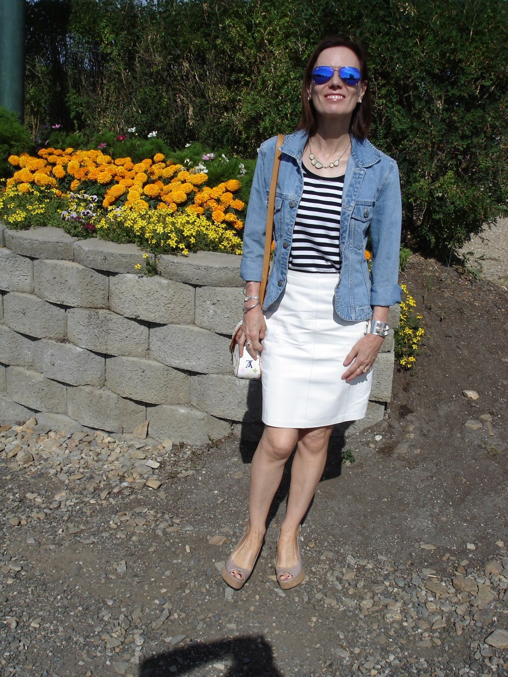 over50fashion tailored denim jacket styled for Sunday brunch in summer