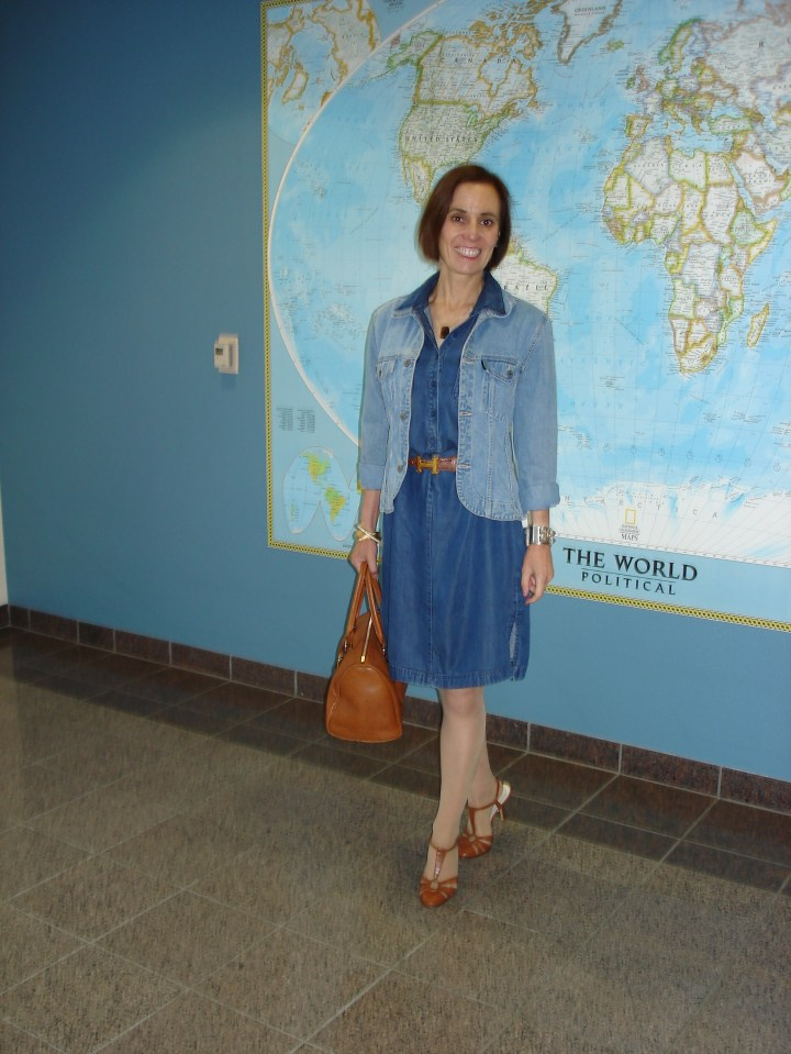 #fashionover40 women wearing denim on denim with tailored jacket and denim shirt dress for Casual Friday