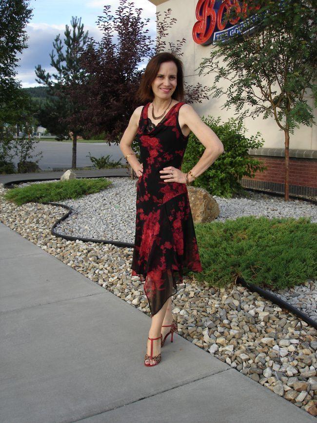 fashion influencer in floral asymmetric hem dress
