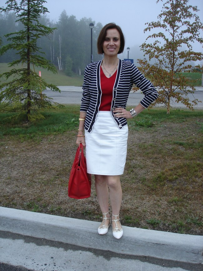 #over40 Worky look in red-white-and-blue | High Latitude Style | http://www.highlatitudestyle.com