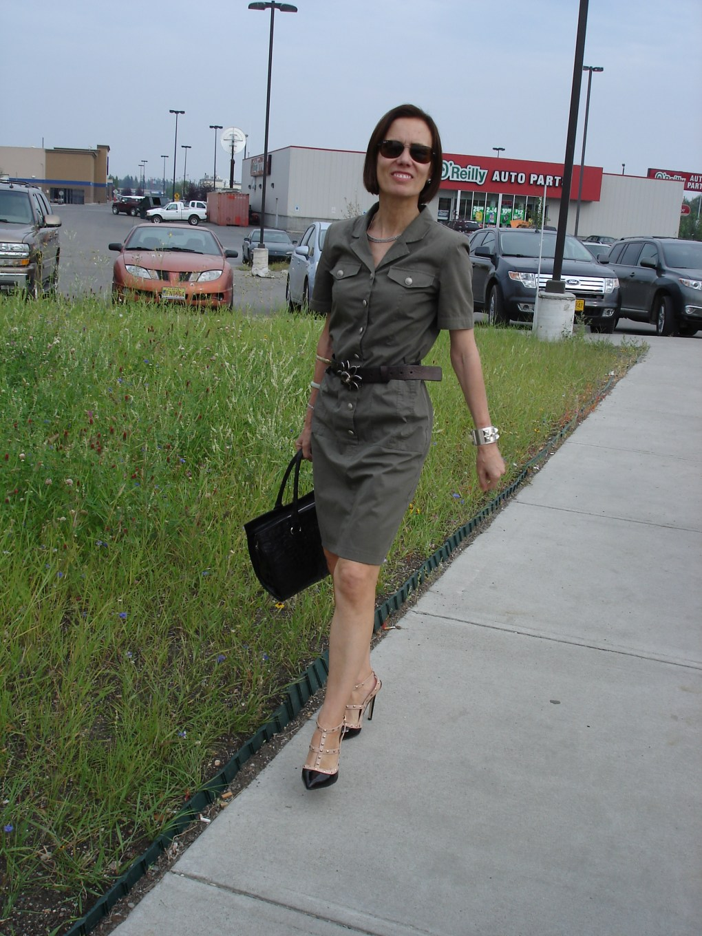 #over40fashion military inspired shirt dress