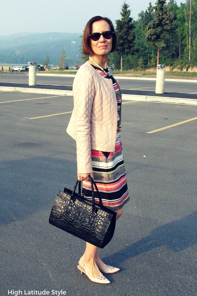 #styleover40 Fashion blogger in dress with cropped jacket end of summer office look with kitten heel pumps