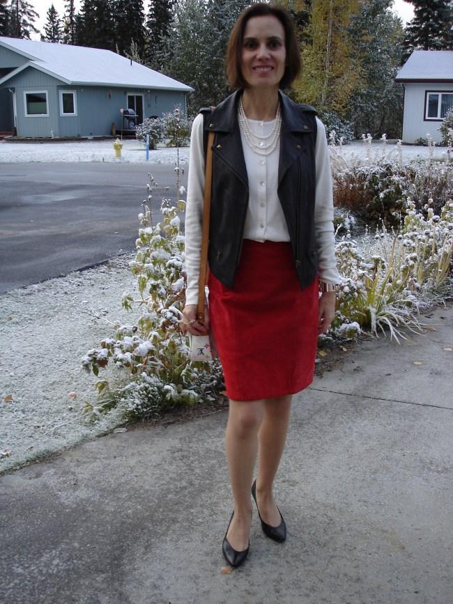 #fashionover40 #fashionover50 Red-white-black edgy office look | High Latitude Style | http://www.highlatitudestyle.com