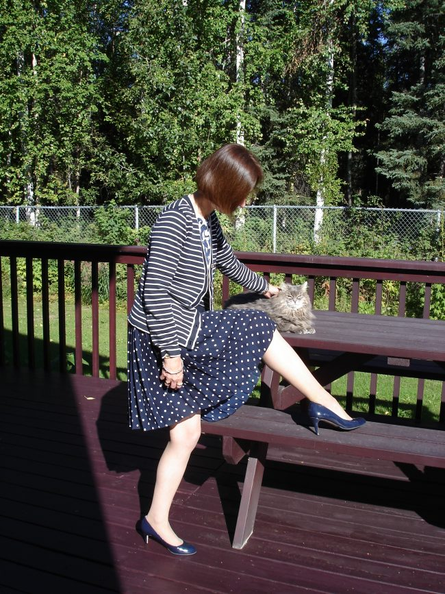 second hand outfit with pleated polka dot skirt striped jacket patent leather pumps