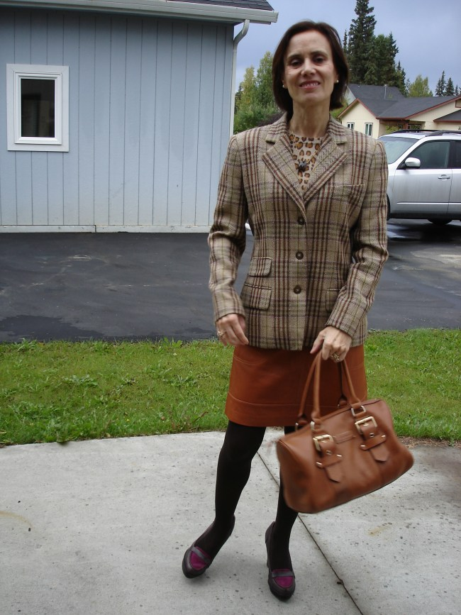 fashion over 40 woman in plaid blazer