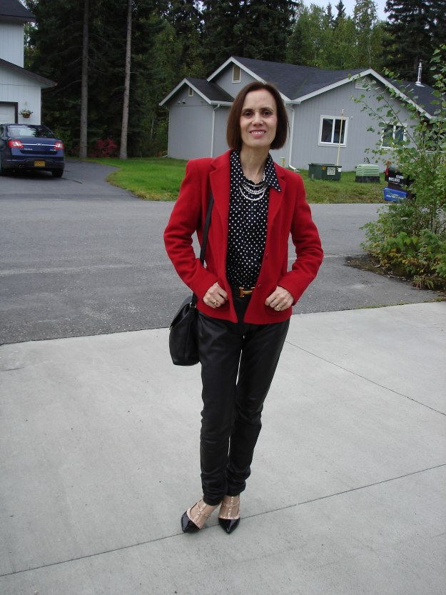fashion over 50 woman with red blazer