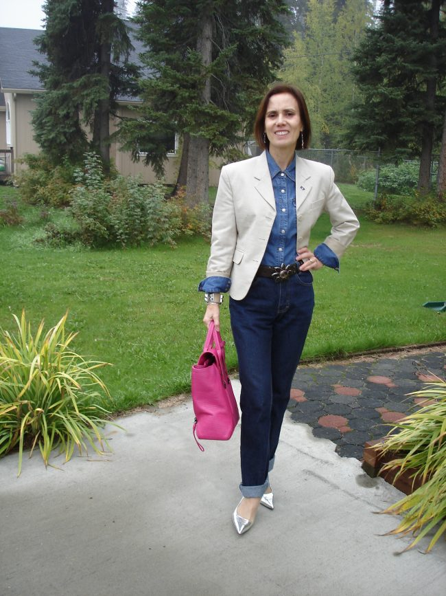 business casual fall outfit with double denim and blazer