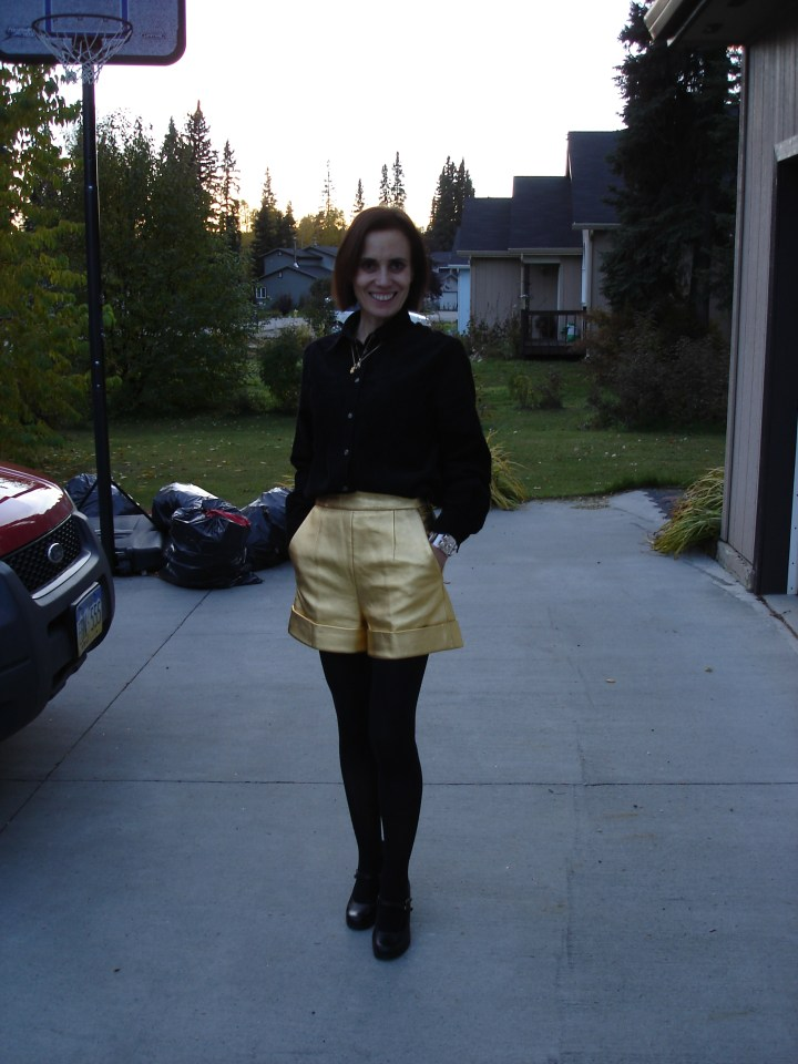 #over40 Gold leather shorts | High Latitude Style | http://www.highlatitudestyle.com