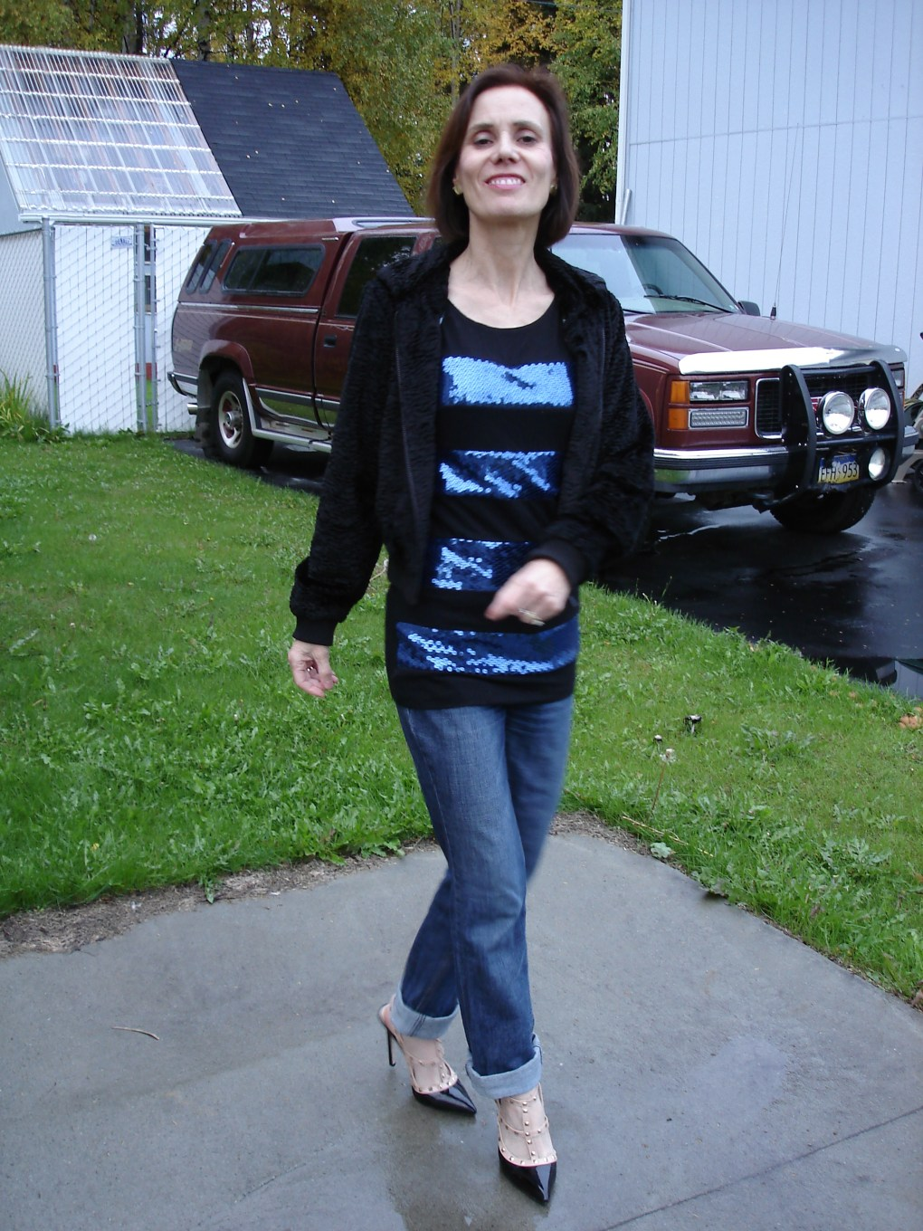 #fashionover40 low budget outfit for going out with thrifted and sales items