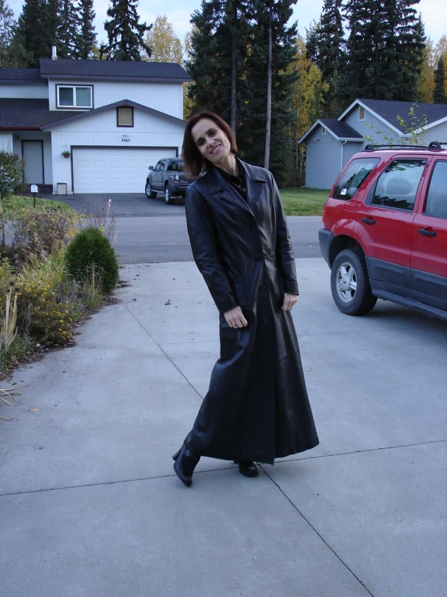 fashion over 40 woman in long leather coat