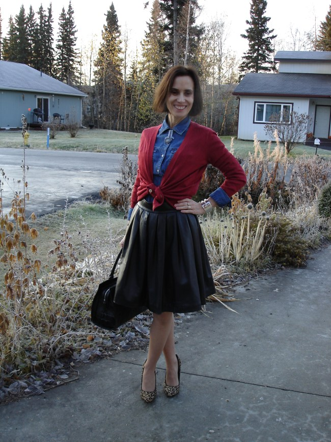 #fashionover40 Mature woman in Casual Friday work outfit with full leather skirt
