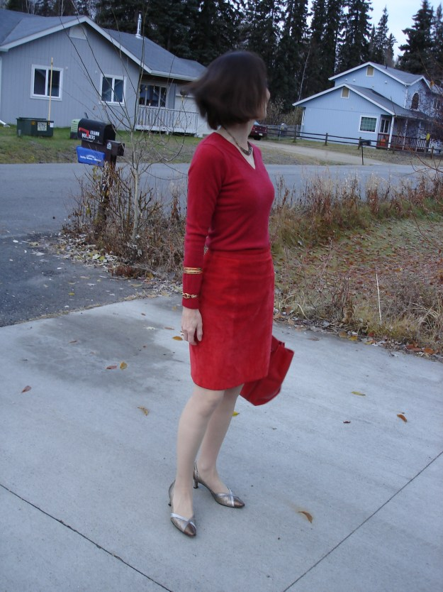 #turningfashionintostyle midlife woman in all red office look