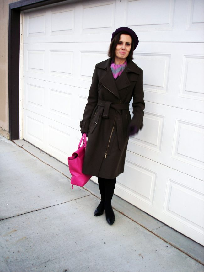stylist in winter in the city stylish outerwear