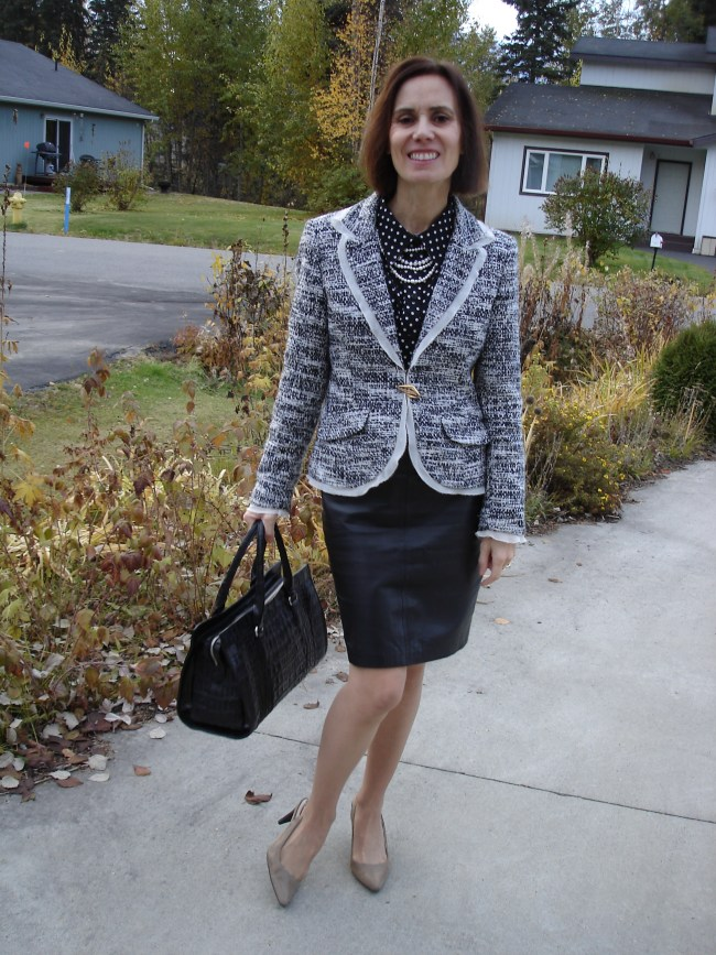 mature black white fashion OOTD with leather skirt and pepper and salt blazer