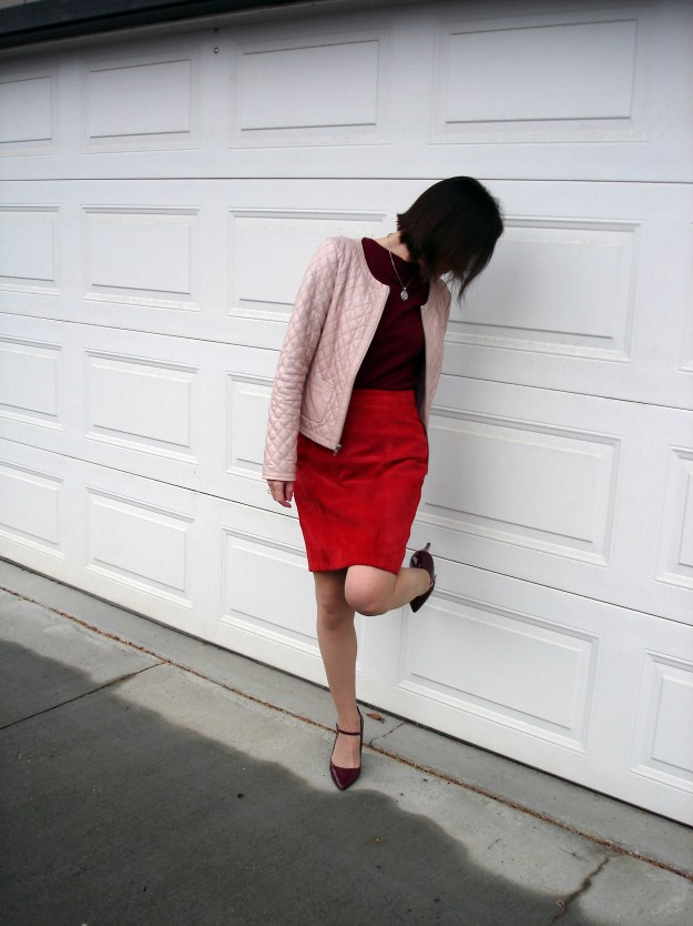over 50 years old stylist featuring a work outfit in pink and red