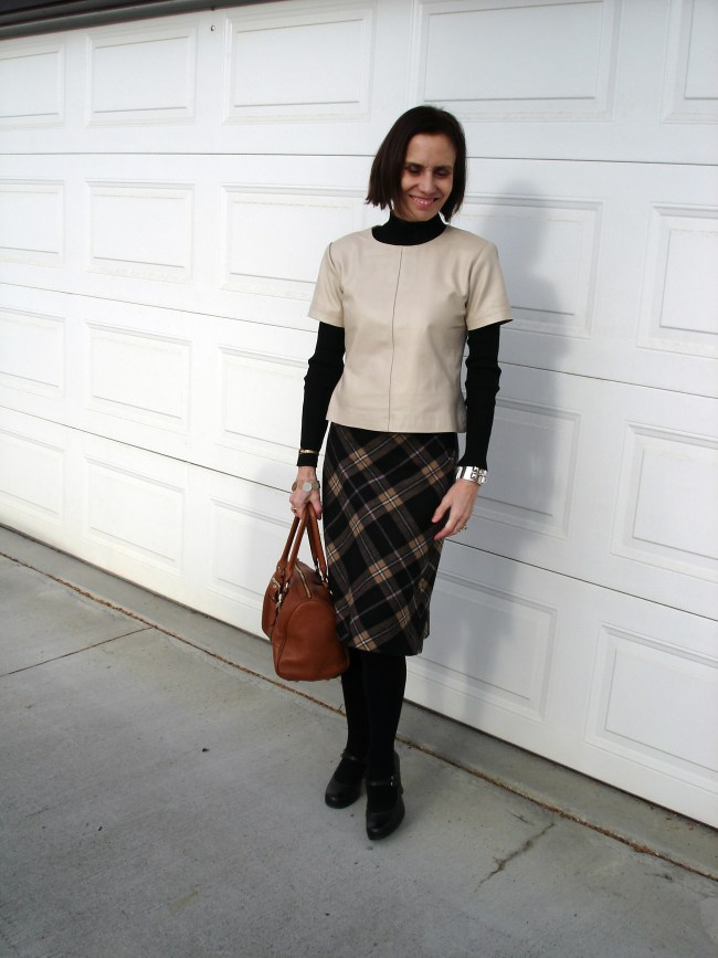 #fashionover50 Mature outfit with leather shell