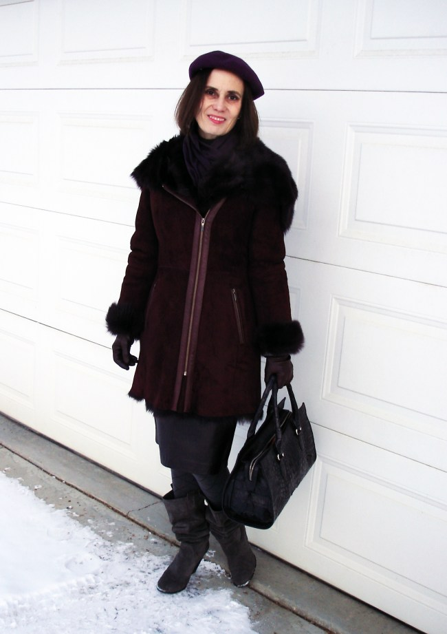 style blogger in a winter outerwear outfit with shearling coat