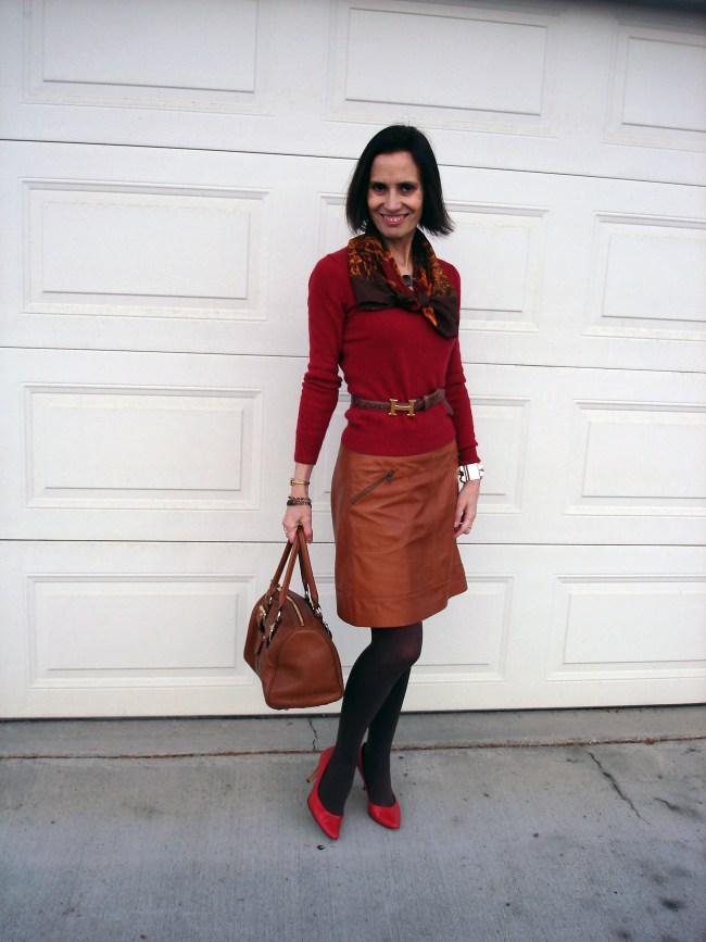 Nicole of High Latitude Style in fall colors work outfit