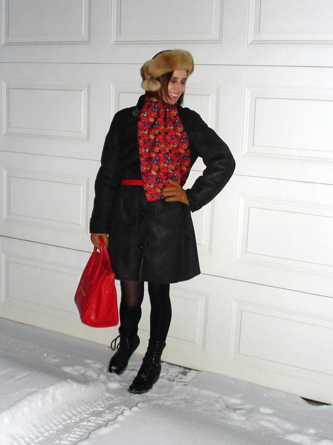 stylist in shearlin, red floral print scarf, headband, Celine bag, gloves, tights