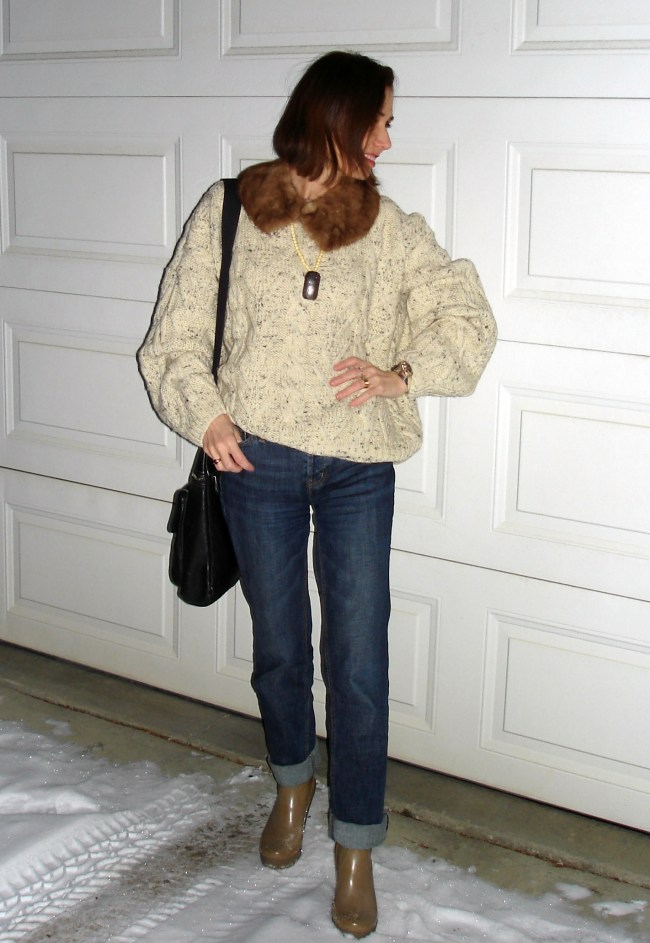 #fashionover40 mature woman in casual winter look
