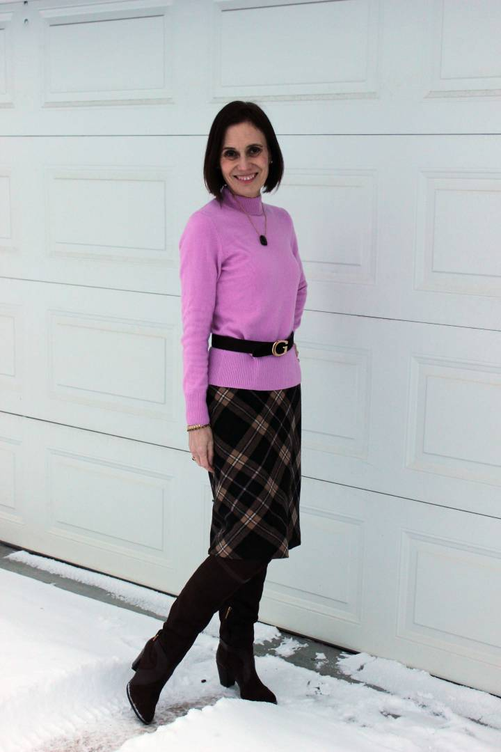 style over 50 woman in workout fit with OTK boots