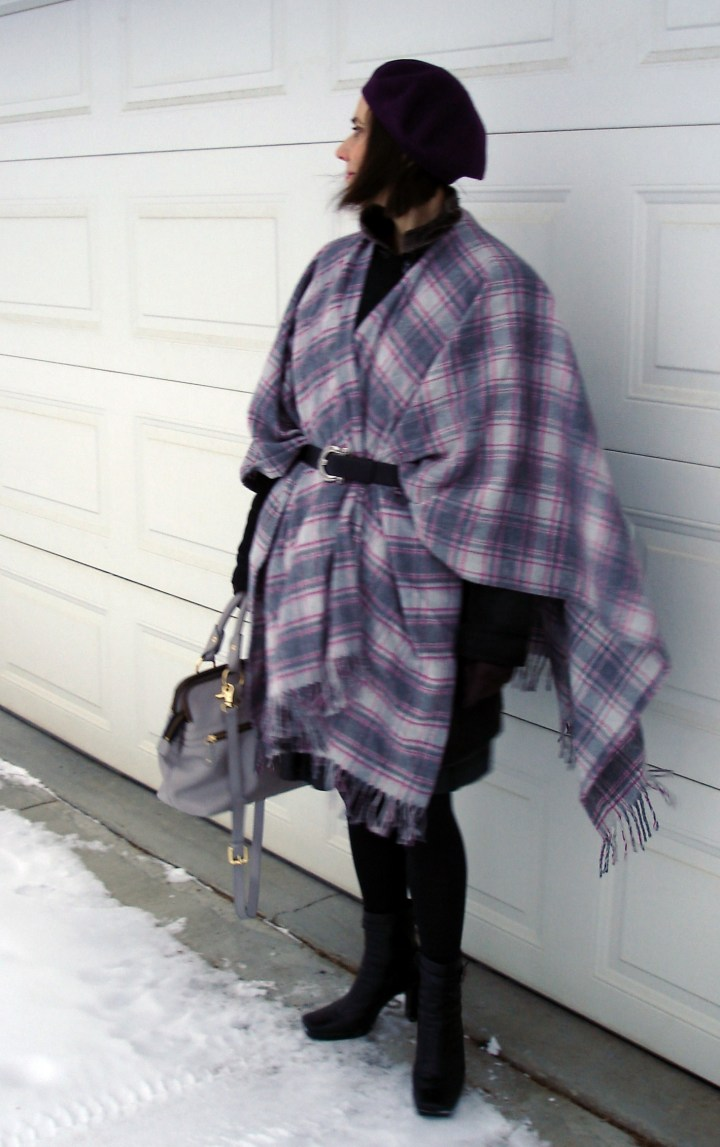 mature style blogger wearing a plaid stole