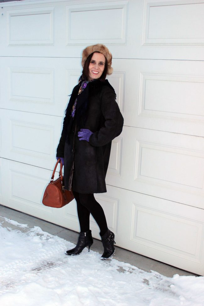 fashion blogger in winter outerwear