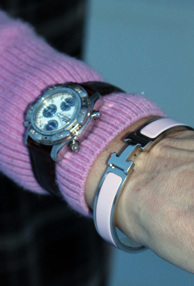 zoom-in on Watch and icy-pink bracelet