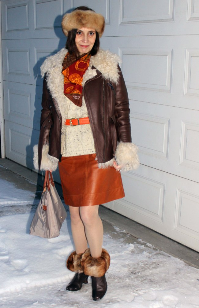 Midlife woman in street style outerwear