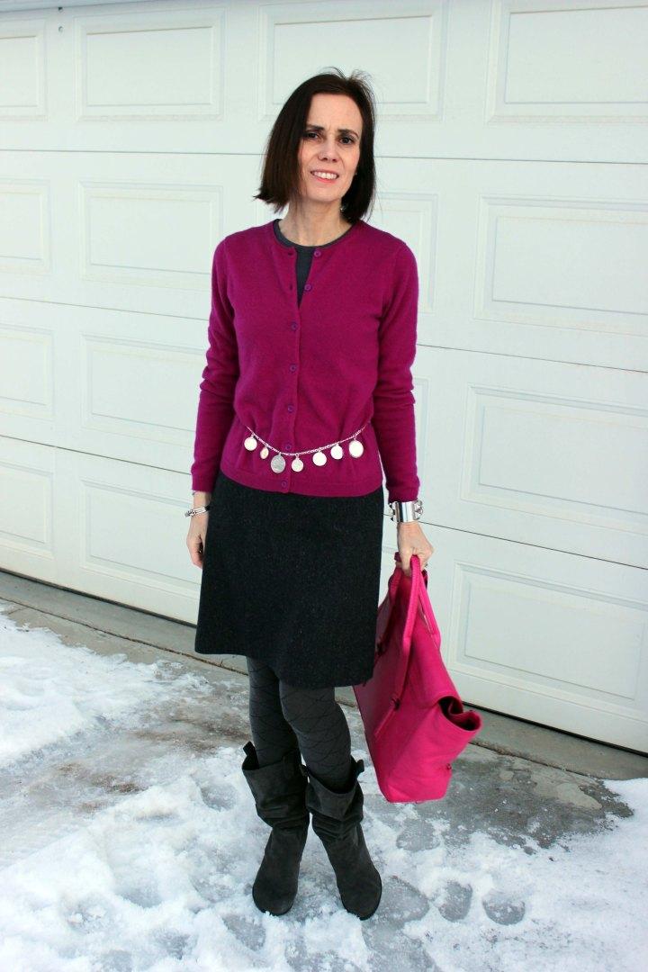 Funday Monday gray-fuchsia winter work outfit