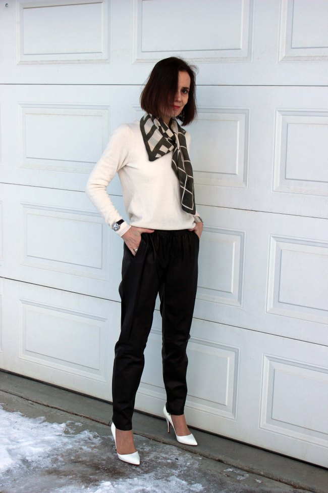 maturefashion woman wearing leather joggers styled for work