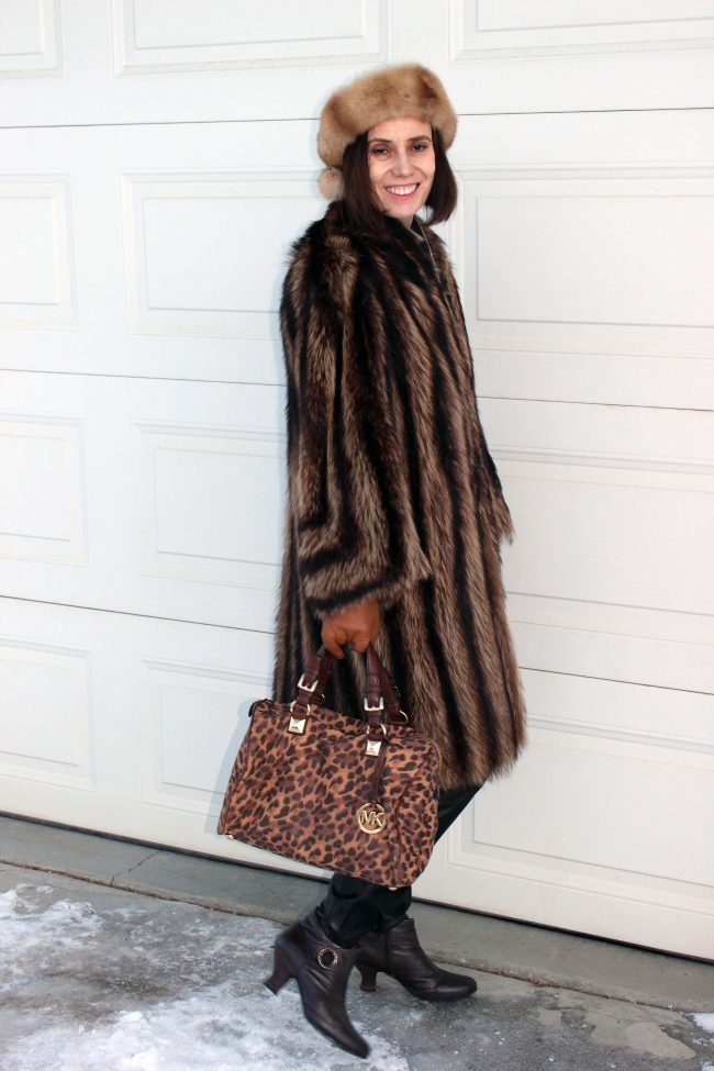 stylist in black and brown coat