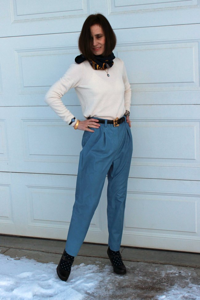 #fashionover40 Mature women in winter work outfit with leather pants