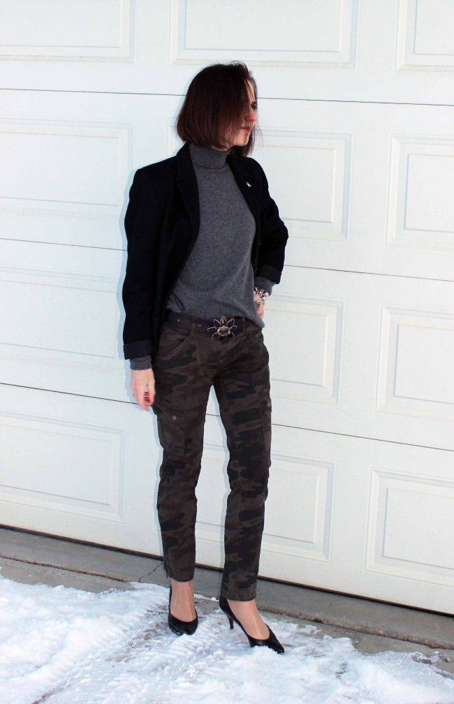 style blogger over 50 wearing camouflage pants with a black blazer