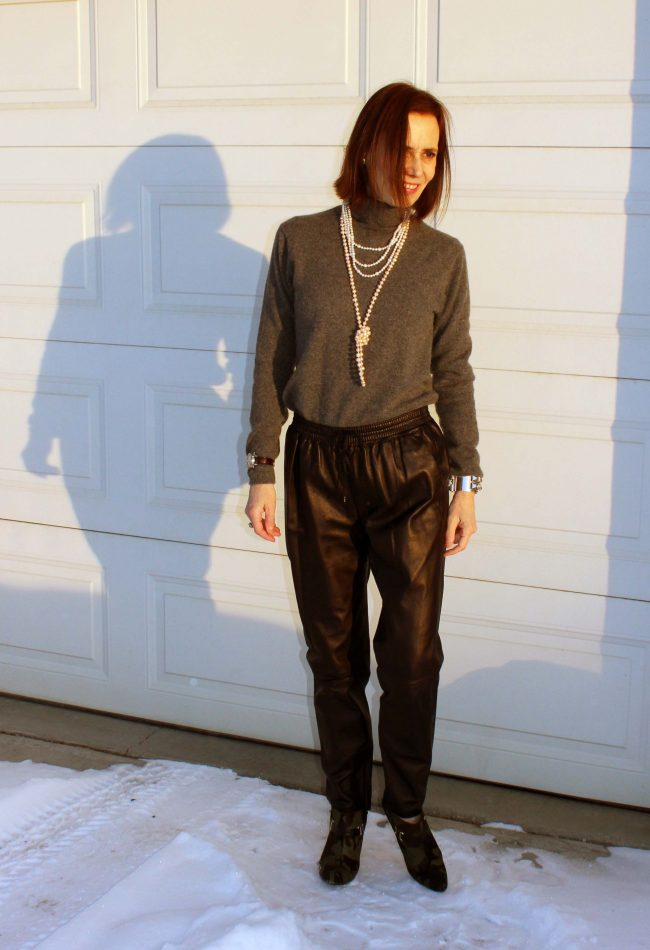 fashion blogger over 40 in joggers outfit with high heels