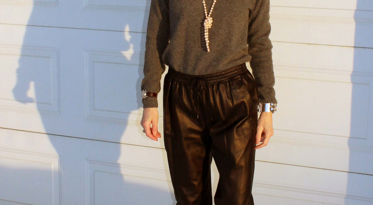 fashion over 40 woman in leather joggers and heels
