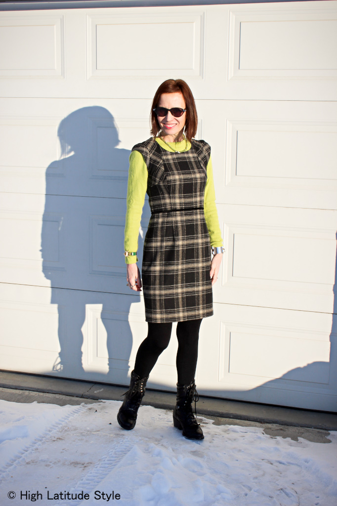 #maturefashion lime green sweater with sheath dress