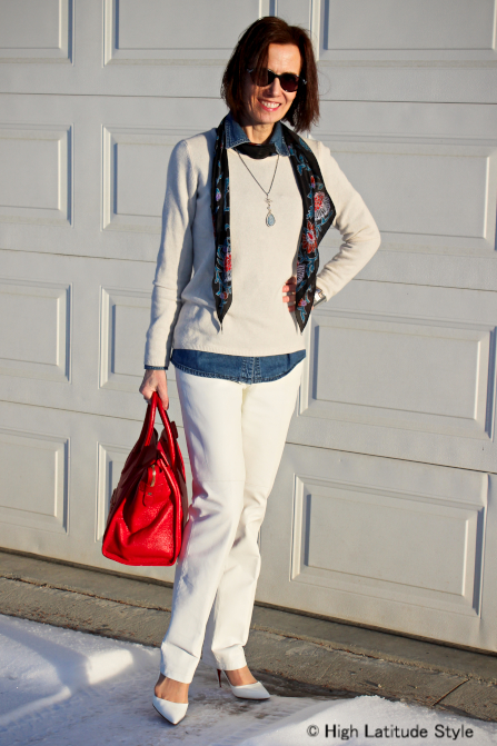 fashionover50 layering a denim shirt under sweater to look stylish