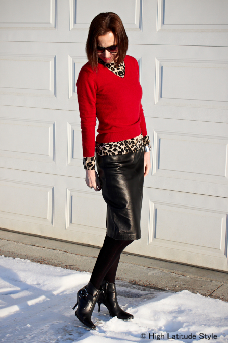 midlife woman layering a leopard print