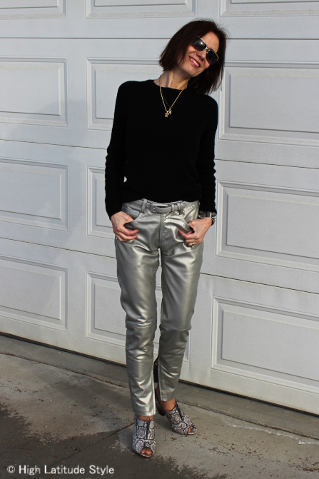 style over 40 silver leather pants