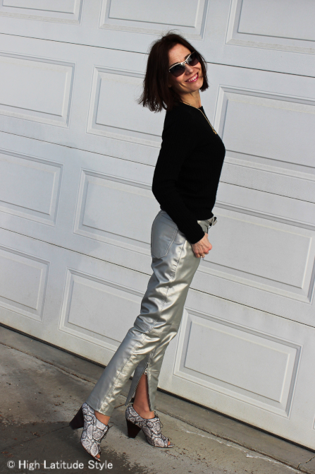 street style blogger in silver leather statement pants