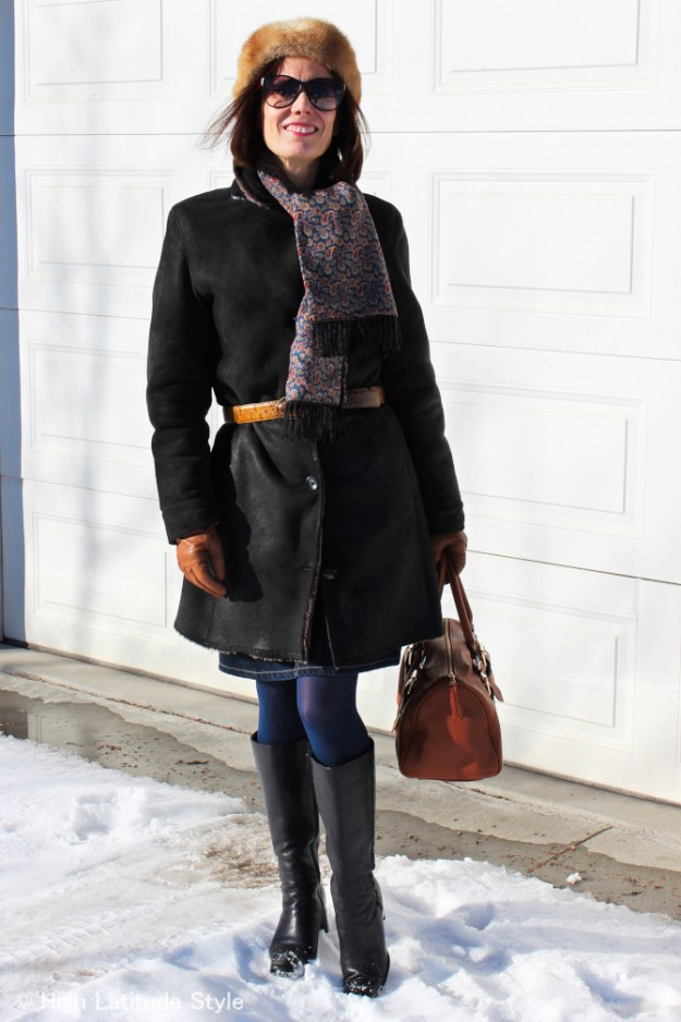 #advancedfashion woman over 40 in classic winter outerwear you can wear when in a hurry