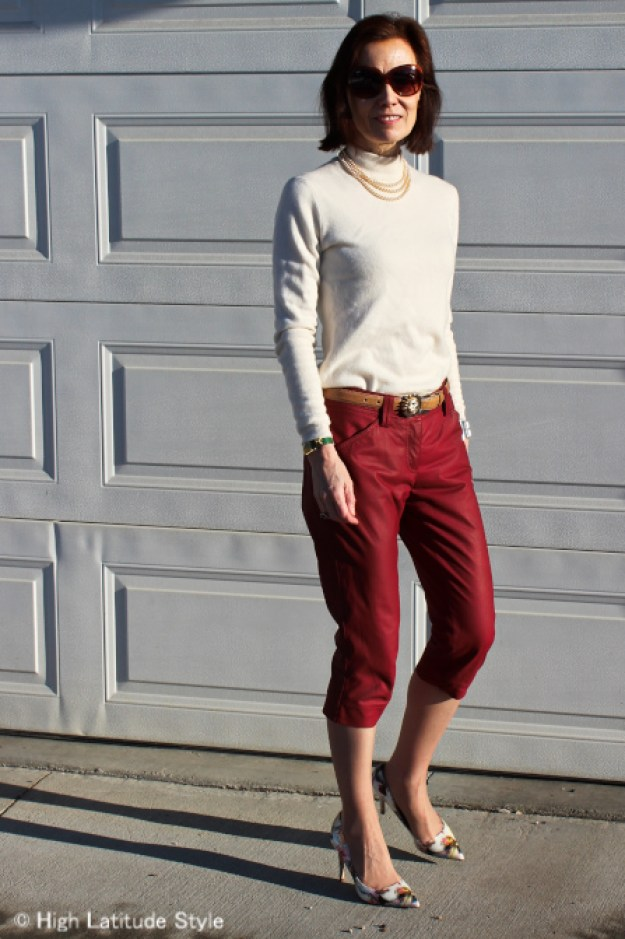 #fashionover50 Classic American with Jackie Kennedy inspired outfit with the cropped pants trend