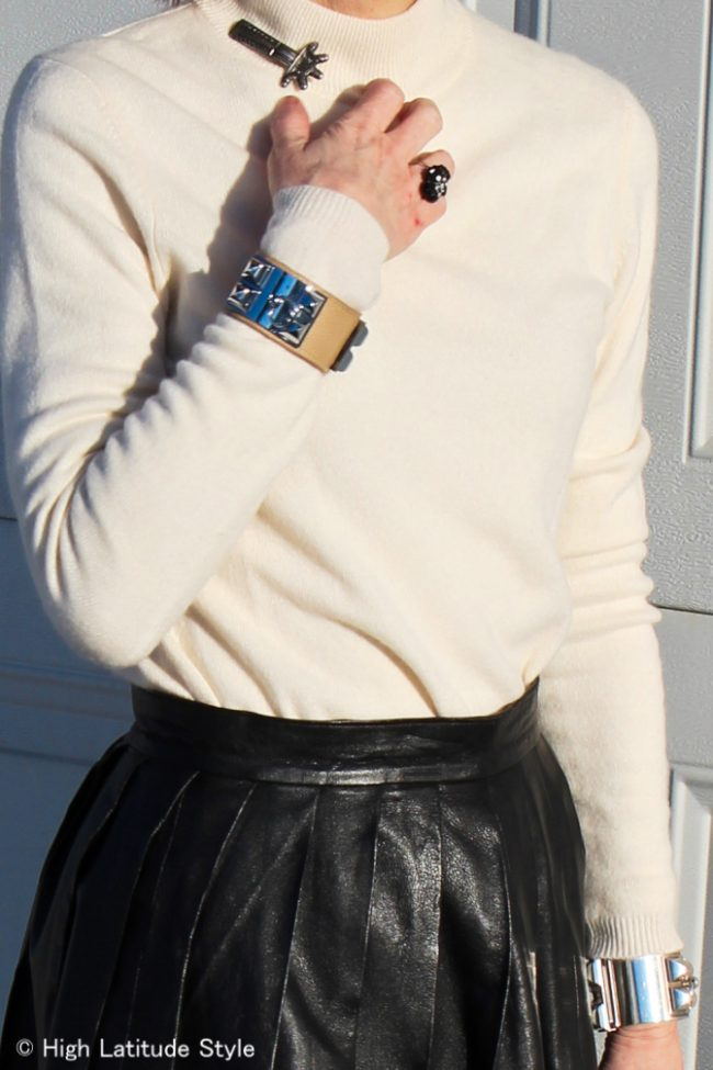 Hermes collier de chien leather bracelet and cuff, onyx flower ring